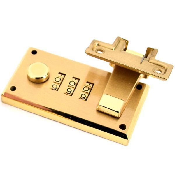 Zahlenkofferschloss 64 mm, aufgesetzt | Messing gebürstet
