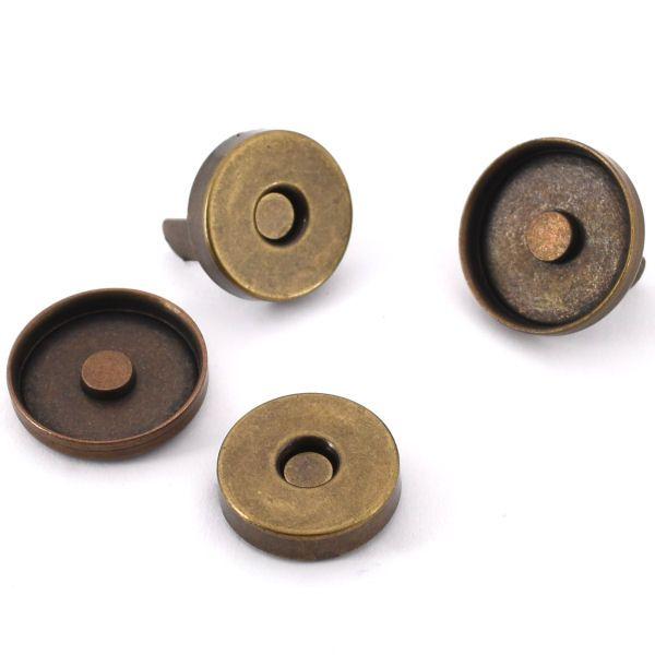 Magnetschloss 18 mm, mit Rand | altmessing